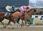 "Ruler On Ice overtakes Spa City Fever to win on Jan. 30.<br><a target=""blank"" href=""http://photos.bloodhorse.com/AtTheRaces-1/at-the-races-2013/27257665_QgCqdh#!i=2343631725&k=5txMKqh"">Order This Photo</a>"