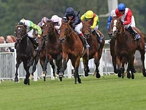 Duke of Marmalade (navy silks) captured the Prince of Wales (ENG-I) by four lengths at Royal Ascot on June 18.