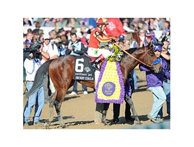 Secret Circle won the 2011 Sentient Jet Breeders' Cup Juvenile Sprint.