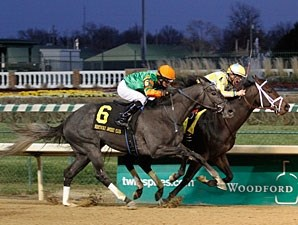 Uncaptured wins the 2012 Kentucky Jockey Club.