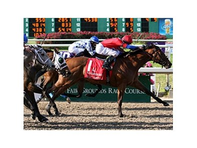 "Quick Temper comes home strong in the Fair Grounds Oaks.<br><a target=""blank"" href=""http://www.bloodhorse.com/horse-racing/photo-store?ref=http%3A%2F%2Fpictopia.com%2Fperl%2Fgal%3Fprovider_id%3D368%26ptp_photo_id%3D8860911%26ref%3Dstory"">Order This Photo</a>"