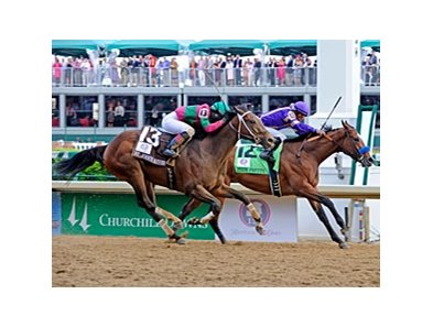 "Plum Pretty holds off St. John's River to win the 2011 Kentucky Oaks.<br><a target=""blank"" href=""http://www.bloodhorse.com/horse-racing/photo-store?ref=http%3A%2F%2Fpictopia.com%2Fperl%2Fgal%3Fprovider_id%3D368%26ptp_photo_id%3D9516929%26ref%3Dstory"">Order This Photo</a>"