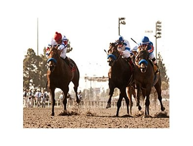 "First Dude (left) goes by Game On Dude (right) and Twirling Candy to win the Hollywood Gold Cup.<br><a target=""blank"" href=""http://www.bloodhorse.com/horse-racing/photo-store?ref=http%3A%2F%2Fpictopia.com%2Fperl%2Fgal%3Fprovider_id%3D368%26ptp_photo_id%3D"