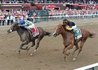 "Emma's Encore (left) closes with a rush to defeat Judy the Beauty in the Prioress Stakes.<br><a target=""blank"" href=""http://photos.bloodhorse.com/AtTheRaces-1/at-the-races-2012/22274956_jFd5jM#!i=2006185067&k=RBVdPX3"">Order This Photo</a>"