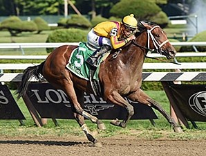Cavorting wins the Adirondack Stakes.