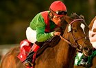 "Gypsy's Warning is the 123-pound high weight in the Jenny Wiley.<br><a target=""blank"" href=""http://www.bloodhorse.com/horse-racing/photo-store?ref=http%3A%2F%2Fpictopia.com%2Fperl%2Fgal%3Fprovider_id%3D368%26ptp_photo_id%3D9301116%26ref%3Dstory"">Order This Photo</a>"
