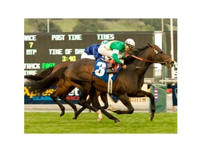 "Proudinsky gets a victory in the San Gabriel Handicap for the second consecutive year.<br><a target=""blank"" href=""http://www.bloodhorse.com/horse-racing/photo-store?ref=http%3A%2F%2Fpictopia.com%2Fperl%2Fgal%3Fprovider_id%3D368%26ptp_photo_id%3D8719791%26ref%3Dstory"">Order This Photo</a>"