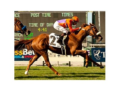 "Malibu Pier bounds home in the Santa Barbara at Santa Anita.<br><a target=""blank"" href=""http://www.bloodhorse.com/horse-racing/photo-store?ref=http%3A%2F%2Fpictopia.com%2Fperl%2Fgal%3Fprovider_id%3D368%26ptp_photo_id%3D9493676%26ref%3Dstory"">Order This Photo</a>"