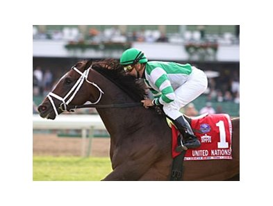 Turbo Compressor and Joe Bravo are in complete control in the United Nations Stakes.