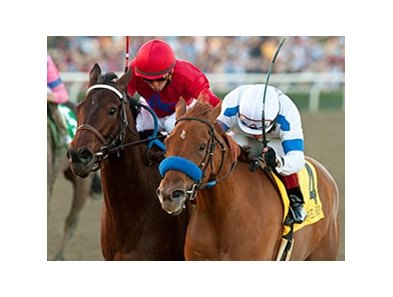 Home Sweet Aspen (right) won the Santa Monica Stakes by a neck on Jan. 28.