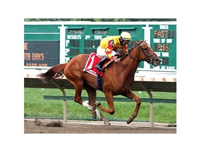 Wine Princess sails home in the Monmouth Oaks.