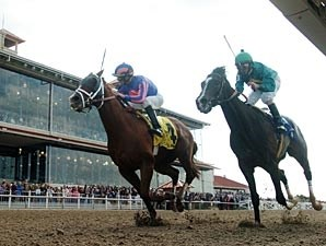 Circular Quay (left) gets by a stubborn Grasshopper to take the New Orleans Handicap.