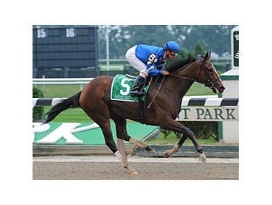 "Music Note is all alone at the finish of the Gazelle.<br><a target=""blank"" href=""http://www.bloodhorse.com/horse-racing/photo-store?ref=http%3A%2F%2Fpictopia.com%2Fperl%2Fgal%3Fprovider_id%3D368%26ptp_photo_id%3D5914559%26ref%3Dstory"">Order This Photo</a>"
