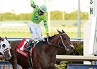 "Edgard Zayas celebrates victory aboard Sr. Quisqueyano in the Florida Sunshine Millions Classic.<br><a target=""blank"" href=""http://photos.bloodhorse.com/AtTheRaces-1/At-the-Races-2015/i-V4mGLdC"">Order This Photo</a>"