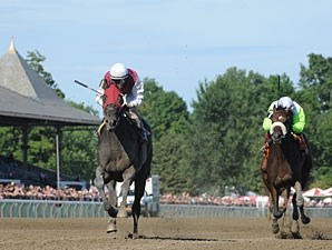 Romansh (left) wins the Curlin Stakes via Disqualification (Transparent finished 1st).