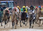 Orb (far left), Oxbow (right, black silks), Palace Malice (center, green blinkers) running in the Kentucky Derby.