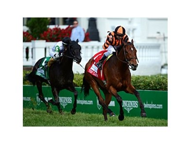 "Little Mike heads west for the Shoemaker Mile.<br><a target=""blank"" href=""http://photos.bloodhorse.com/AtTheRaces-1/at-the-races-2012/22274956_jFd5jM#!i=1830421187&k=BKgmhFK"">Order This Photo</a>"