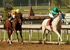 "Zazu (right) outfinishes Turbulent Descent to win the Las Virgenes.<br><a target=""blank"" href=""http://www.bloodhorse.com/horse-racing/photo-store?ref=http%3A%2F%2Fpictopia.com%2Fperl%2Fgal%3Fprovider_id%3D368%26ptp_photo_id%3D9395118%26ref%3Dstory"">Order This Photo</a>"