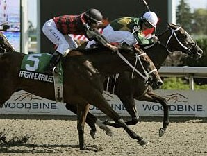 Juliet's Spirit (right) holds off After the Applause to take the Ontario Debutante Stakes.