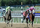 "Ria Antonia (left) finished second, but was placed first after the disqualification of She's a Tiger (right). <br><a target=""blank"" href=""http://photos.bloodhorse.com/BreedersCup/2013-Breeders-Cup/Juvenile-Fillies/33149847_tj7RjQ#!i=2878060645&k=M5R76Qf"">"