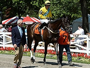 Demonstrative wins the New York Turf Writers Cup Stakes (NSA-I) Aug. 25.