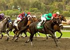 Neko Bay flies home late under Mike Smith to win the San Pasqual. 