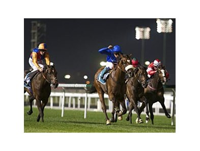 Now Spun pulls away to victory in the Meydan Classic.