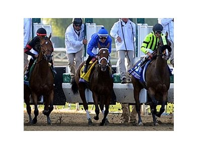 Questing breaking for the starting gate in the Breeders' Cup Ladies' Classic.