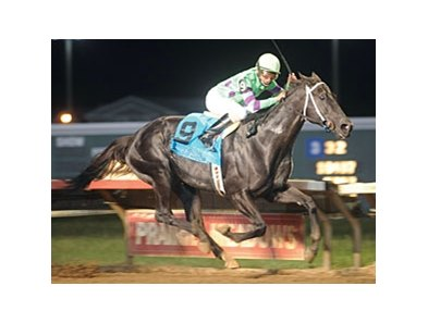 Shadowbdancing pulls away to victory in the Cornhusker at Prairie Meadows.