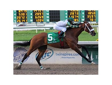 "Mucho Macho Man storms home in the Risen Star.<br><a target=""blank"" href=""http://www.bloodhorse.com/horse-racing/photo-store?ref=http%3A%2F%2Fpictopia.com%2Fperl%2Fgal%3Fprovider_id%3D368%26ptp_photo_id%3D9412817%26ref%3Dstory"">Order This Photo</a>"