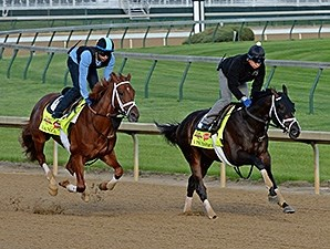 Danza and Vinceremos jog at Churchill Downs April 27.