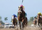 Grace Hall runs away from competition in the Gulfstream Oaks.