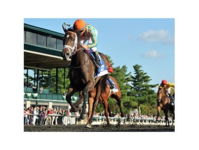 "My Conquestadory comes home strong to win the Darley Alcibiades.<br><a target=""blank"" href=""http://photos.bloodhorse.com/AtTheRaces-1/at-the-races-2013/27257665_QgCqdh#!i=2810572403&k=QXfwVTJ"">Order This Photo</a>"