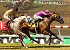 Obviously holds off He Be Fire N Ice to win the Del Mar Mile.