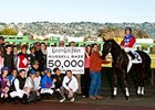 Russell Baze celebrates his 50,000th ride.