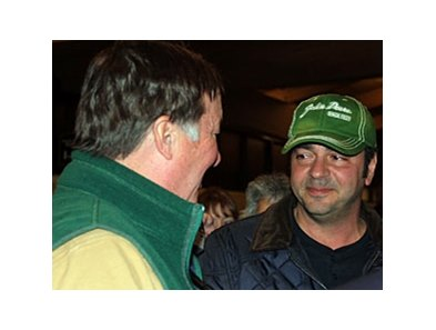 Nat Rea (right) is congratulated by consignor Alfred Nuckols after purchasing a $1.45 million yearling at the Keeneland January horses of all ages sale.