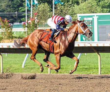 Seaneen Girl and jockey Paco Lopez take the Grade III Monmouth Oaks at Monmouth Park in New Jersey.