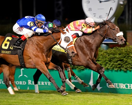 Jim Miller's Aurelia's Belle earned the second graded-stakes win of her career in her turf debut when she was placed first after a disqualification in the $111,900 Grade III Regret Stakes for 3-year-old fillies at Churchill Downs.