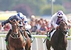 "Declaration of War (left) powers home to win the Juddmonte International Stakes.<br><a target=""blank"" href=""http://photos.bloodhorse.com/AtTheRaces-1/at-the-races-2013/27257665_QgCqdh#!i=2715013445&k=cn2bbph"">Order This Photo</a>"