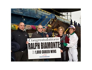 Ralph J. Biamonte celebrates win number 1,000 at Woodbine Oct. 25.