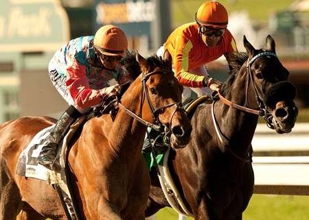 Rumor and jockey Mike Smith, left overpower Teddy's promise (Victor Espinoza), right, to win the Grade III, $100,000 Las Flores Stakes, Sunday, March 10, 2013 at Santa Anita Park, Arcadia CA.