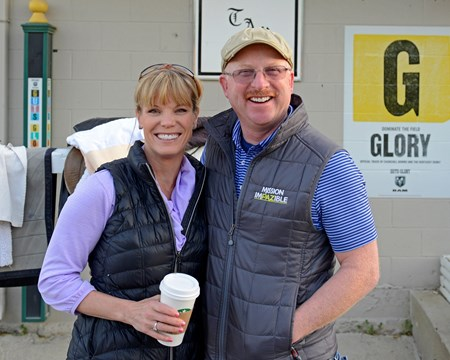 Caption: Kim and Randy Gullatt, connections with Vinceremos (who also had the injured Constitution) outside the Todd Pletcher barn.