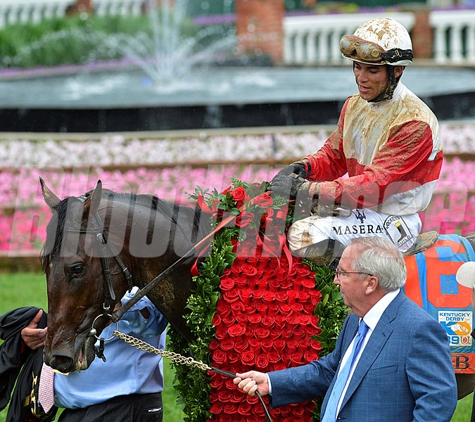 Orb is lead to the winner's circle by his trainer Shug McGaughey after winning 139th edition of the Kentucky Derby with jockey Joel Rosario in the irons and it gave trainer Shug McGaughey his first win in the classic May 4, 2013 at Churchill Downs in Louisville, Kentucky.
