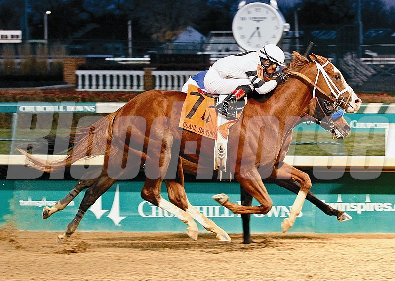 Will Take Charge and jockey Luis Saez win the Grade I Clark Handicap at Churchill Downs on November 29, 2013. Photo by: Churchill Downs / Reed Palmer Photography
