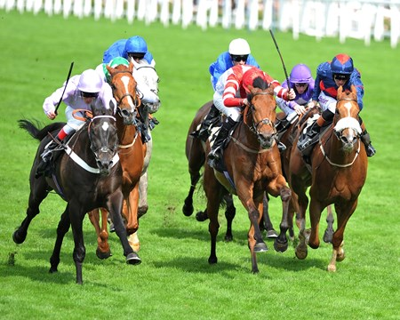 Forgotten Voice and jockey Johnny Murtagh up wins the Wolferton Handicap Stakes at Royal Ascot.