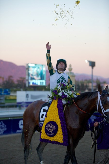 Gary Stevens celebrated winning the Breeders' Cup Classic (gr. I) atop Mucho Macho Man.