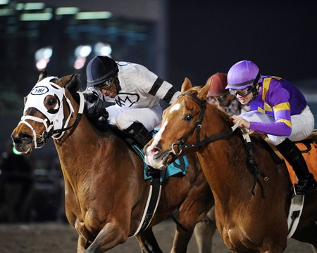 Ghost is Clear pulls clear of Daybreak Dreamer to take the Sam Houston Sprint Cup Stakes at Sam Houston Race Park.
