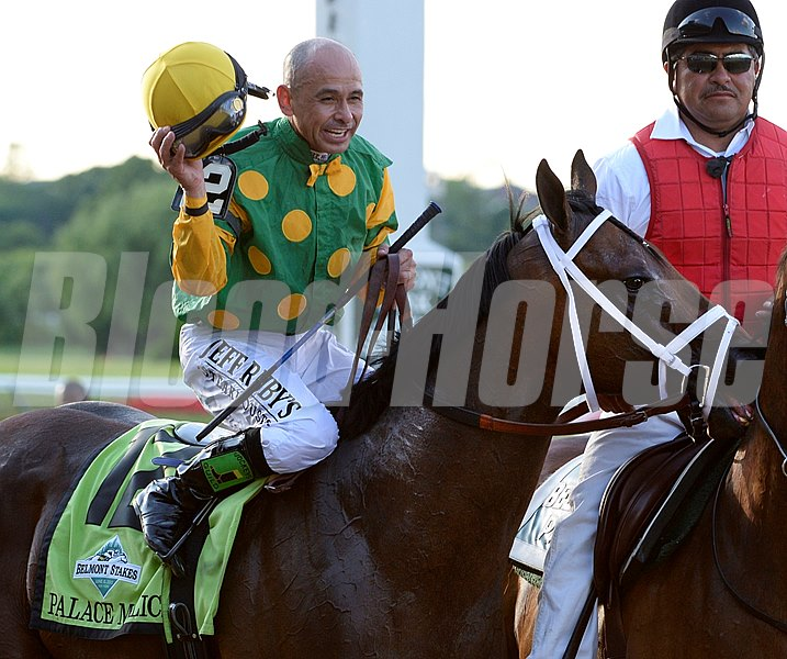 Jockey Mike Smith is exultant after his Belmont Stakes victory aboard Palace Malice.