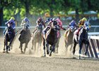 Racing around the final turn at NYRA's Belmont Park