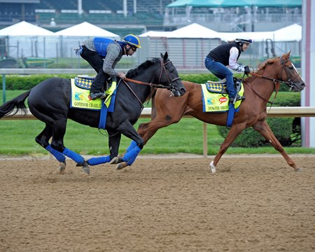 Caption:  Govenor Charlie and Power Broker on the track.